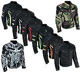 HEYBERRY kurze Textil Motorrad Jacke Motorradjacke Schwarz Neon Gr. XL