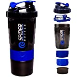 CP BIGBASKET Protein Shaker Gym Bottle With 2 Storage Compartments And 1 Pill Tray (Blue) 500 Ml