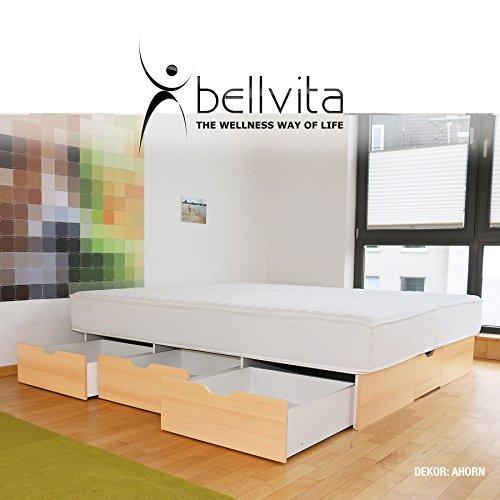 bellvita WASSERBETTEN SCHUBLADENSOCKEL inkl. Lieferung und AUFBAUSERVICE durch Fachpersonal, 160 cm x 200 cm (ahorn)