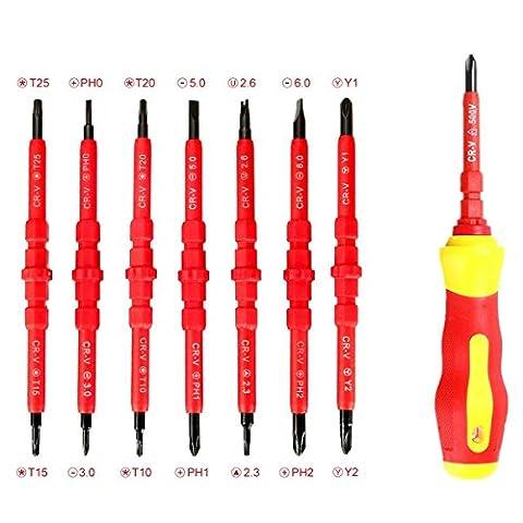 Schraubendreher MOHOO® Schraubendreher Set Schraubendrehersatz 7-tlg Elektrischer Isolationsschutz CR-V-Stahl mit