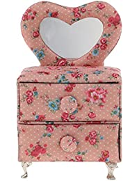 Baoblae Vintage Pink Flower Print Mini Furniture Jewelry Storage Box Organizer Gift Decor