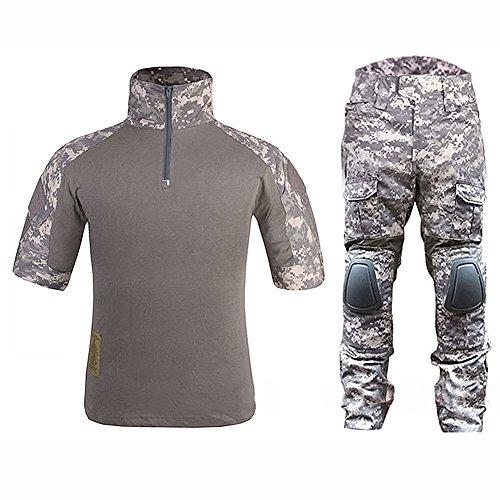 WorldShopping4U Tactical Military Custom Kampf Armee Shorts Uniform Hemd und Hose Anzug Set (ACU, L) -
