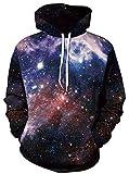 Ocean Plus Herren Kapuzenpullover Lebensecht 3D Grafik Hoodie mit Kängurutasche Pullover mit Kapuze Sweat Hood (L/XL (Brustumfang: 114-134CM), Blaue Schwarze Galaxie)