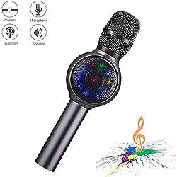 Microfono inalambrico karaoke Bluetooth, NINE CUBE 3-en-1 microfono de karaoke portatil de mano, altavoces de karaoke, regalos para amigos y ninos, compatible con iPhone, Android, PC, etc.(Gris)