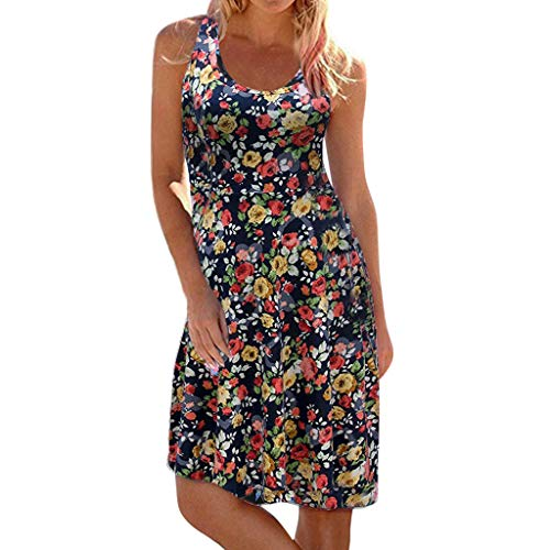 Amuse-MIUMIU Women floral Dresses Western,Women A-Line Western Sleeveless Round Neck Print Maxi Tank Beach Dress Skater Shift Party Knee Long Dress- Fancy Dress for Women/Girl/Lady Back Tank Dress