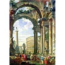 Cuadro sobre lienzo 30 x 40 cm: Roman Capriccio, 18th century de Giovanni Paolo Pannini / Bridgeman Images - cuadro terminado, cuadro sobre bastidor, lámina terminada sobre lienzo auténtico, impres...