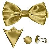 GASSANI 3-SET Goldenes Fliegenset | Fliege Manschettenknöpfe Einstecktuch | Goldene Schleife zum Anzug