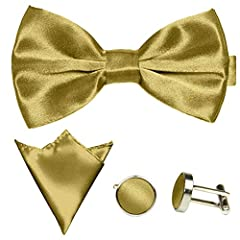 Idea Regalo - GASSANI Set Papillon Uomo 3 Pezzi Color Oro, Papillon Matrimonio, Pochette Taschino, Gemelli, Chiusura Cravattino Regolabile