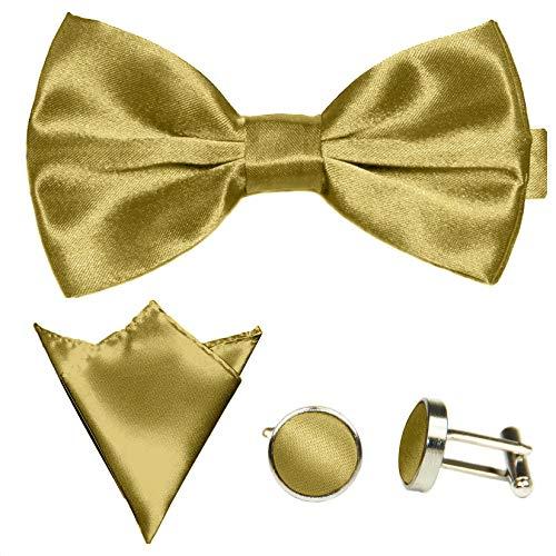 GASSANI 3-SET Goldenes Fliegenset   Fliege Manschettenknöpfe Einstecktuch   Goldene Schleife zum Anzug