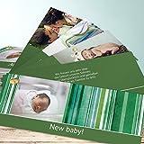 Babykarten Geburt, Vintage Babe 200 Karten, Kartenfächer 210x80 inkl. weiße Umschläge, Grün
