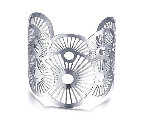 Vnox aux femmes Acier inoxydable Fan Forme Flower Filigree Bracelet à large largeur en manchette argenté