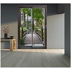 Stickers trompe l'oeil baie vitrée Pont en foret - L 140cm x H 210cm