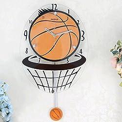 TXXM Relojes de pared Baloncesto Creativo Sala de estar Moda Bell Personalizado Mute Relojes Reloj de pared Hogar Decoración de la mesa Reloj Swing Relojes de pared