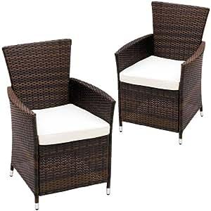 Balkonmöbel set rattan  Miadomodo Set of 2 Rattan Chairs with Cushions Outdoor Garden ...