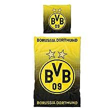 Borussia Dortmund, Bed linen with dot pattern , black-yellow, 135x200