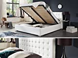Bett mit Bettkasten Weiß Weiss Polsterbett Lattenrost Doppelbett Jimmy 140 160 180x200cm (140 x 200 cm)