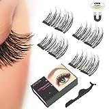Falsche magnetische Wimpern, Kiniva 3D Wiederverwendbare Künstliche Wimpern, Premium Set 1 Paar (4 Stück) wimpern mit magnet magnetic eyelashes - Ohne Kleber (Dual Magnets)