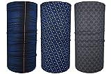Hilltop 3 x Motorrad Multifunktionstuch, Kopftuch, Halstuch, Bandana 3-er Set in ausgewählten Designs, 3er Set/Farben:Dunkelblau Grau