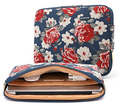 kayondr-water-resistant-laptop-bagrose-canvas-fabric-neoprene-protective-sleeve-case-for-13-133-inch