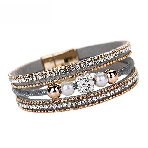 ODJOY-FAN Frau Multilayer Armreif Armband Kristall Perlen Mehrschichtig Handketten Leder Magnetisch Armbänder (Grau,1 PC)