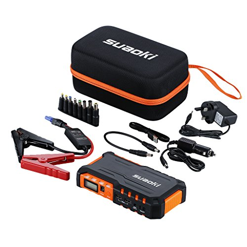 Suaoki G7 Jump Starter 600A for 12V Car Diesel Petrol, LED Flashlight, 18000mAh Battery Pack with Dual USB Ports 12V 16V 19V for Phone Tablet Laptop, Orange Test