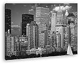 deyoli wunderschöne Skyline New York Effekt: Schwarz/Weiß im Format: 60x40 als Leinwandbild, Motiv fertig gerahmt auf Echtholzrahmen, Hochwertiger Digitaldruck mit Rahmen, Kein Poster oder Plakat
