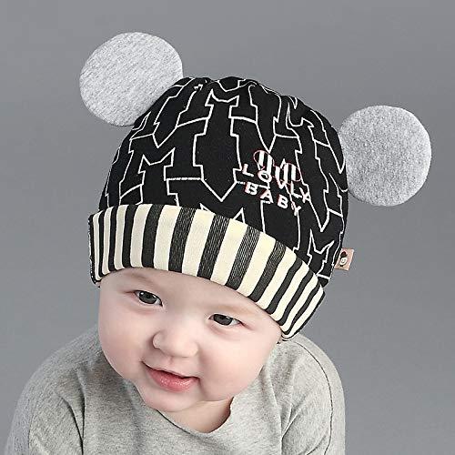 geiqianjiumai Götter tragen Baby Hut 3-12 Monate Männer und Frauen Baby Hut Baumwolle Cartoon-Stil Kappen schwarz Code 36-48cm -