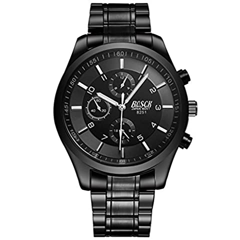 Rawdah Fashion Men Business Date Stainless Steel Leather Analog Quartz Sport Casual Wrist Watch (A)