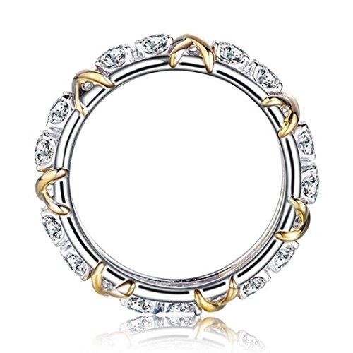 Preisvergleich Produktbild Damen Ring Luxus Frauen Farbe Gold Hochzeit Engagement Floral Ring Von Dragon868 (D,  Silber)