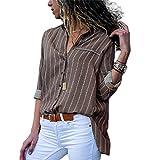 Hiistandd Damen Bluse V-Ausschnitt Shirt Button Down Hemd Langarmshit Casual Chiffon Tops
