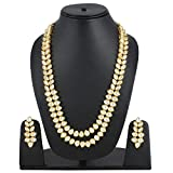 Shining Diva Fashion Traditional Stylish Kundan Necklace Jewellery Set for Women (White)