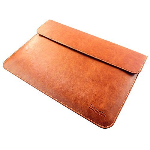 Macbook Air 13 & Macbook Pro 13 Retina Leather Sleeve Case, Brown Laptop Case for Apple Macbook Air 13.3 Inch Display and Macbook 13 Pro with Retina Display – Retail Packaging (Brown)