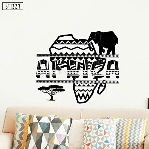 yaoxingfu Wandtattoo Afrikanische Karte Design Wandaufkleber Geometrischen Ethnischen Stil Tier Vinyl Abnehmbare Kinderzimmer Wohnkultur Poster Karte Farbe 93x87 cm