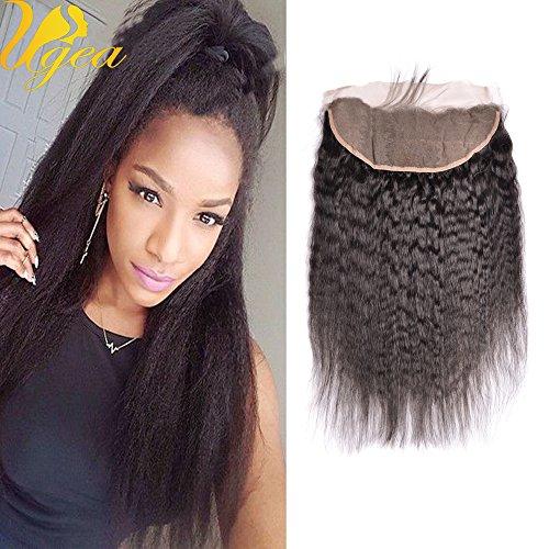 Ugeat Kinky Straight Lace Closure Frontal Libre Partie de Tissage Virginal Cheveux Humains Bresilien Noir Naturel avec Baby Hair 10 Pouces 13*4