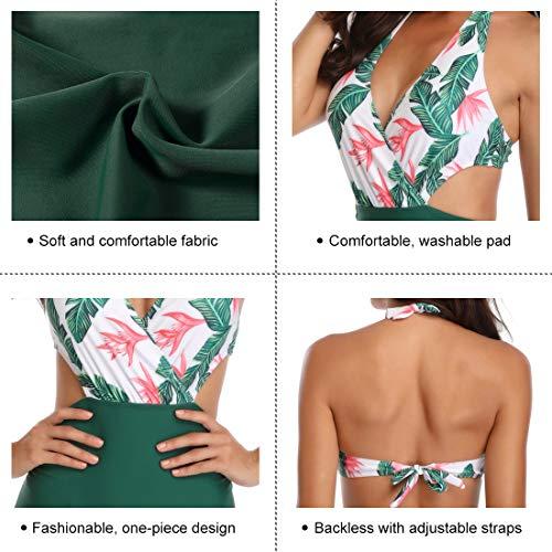 Retro Bademode Frauen Damen Bikini Set Blumen Rückenfrei Bademode Strandkleidung Grün Badeanzug Hohe Taille Bikini Floral Shape Badeanzug Damen L - 3