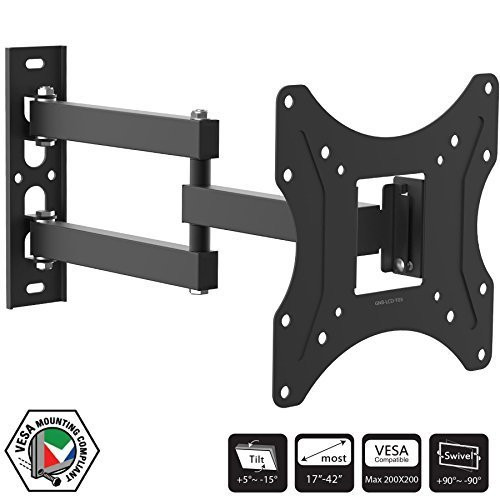 Full Motion TV Wall Mount Bracket for 17 - 42 inch LCD LED 3D Plasma Television Monitor Fully Vesa Compliant for up to 200x200mm