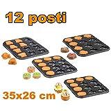 TrAdE shop Traesio Teglia Stampi Stampini per Muffin 12 Posti da Forno Antiaderente 35x26 cm