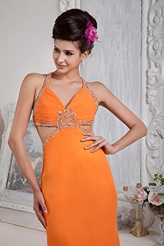 GEORGE BRIDE Orange Chiffon Sexy Ruecken Perlen Tanzen Kleid Orange