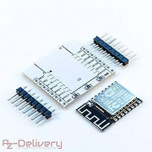 AZDelivery ESP8266 ESP-12F Verbesserte Version zu ESP-12E, WLAN Wifi Modul für Arduino, Raspberry Pi und Mikrocontroller mit Gratis Adapter Board und mit Gratis eBook!