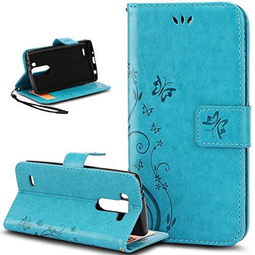Kompatibel mit LG G3 Hülle,LG G3 Schutzhülle,ikasus Malerei Schmetterling Muster PU Lederhülle Flip Hülle Cover Schale Stand Ständer Etui Karten Slot Wallet Tasche Case Schutzhülle für LG G3,Blau