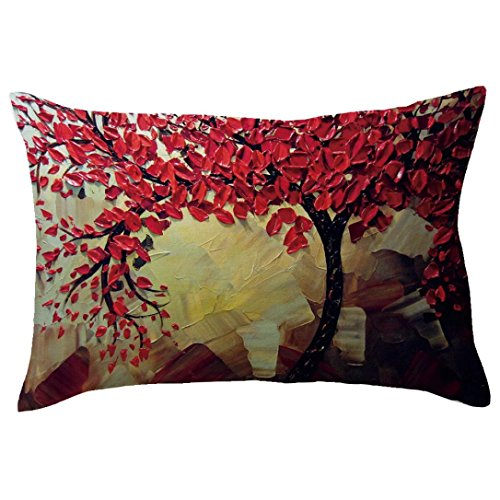 Indexp Rectangle Tree Pattern Printing Throw Cushion Cover Sofa Home Decoration Pillow case (Style B)