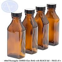 100ml rechteckig Bernstein Glas Flasche mit Deckel schwarz–4Stück preisvergleich bei billige-tabletten.eu