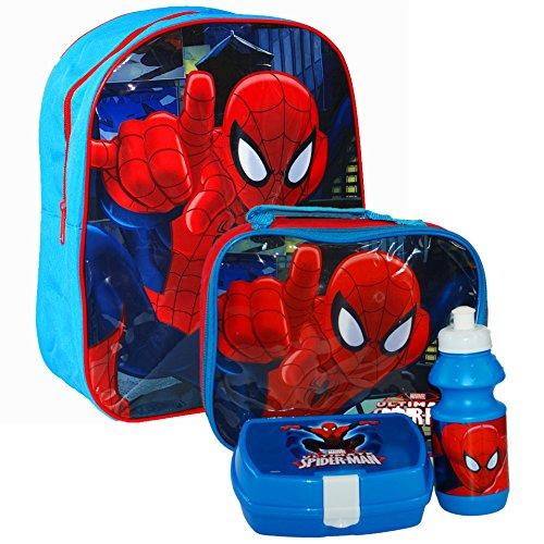 MARVEL® Ultimate Spider-Man Spiderman Official Kids Children School Travel Rucksack Backpack Bag, Lunchbag Lunch Bag Case with Sandwich Box and Drinking Bottle Set for Kids Children