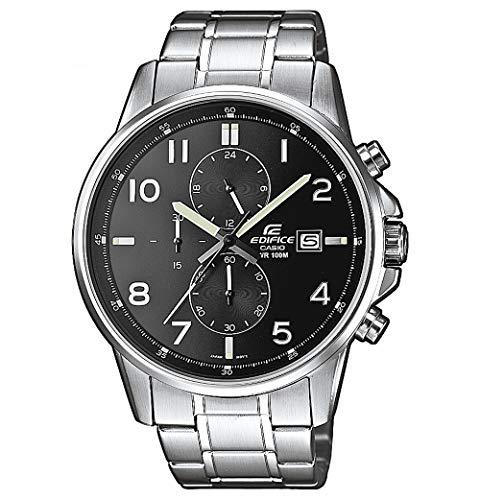 Casio Edifice Herrenarmbanduhr EFR-505D-1AVEF, schwarz, massives Edelstahlgehäuse und Armband, 10 BAR