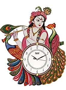 DRC Wooden Antique Lord Krishna with Peacock Designer Wall Clock for Home Study Living Room & Office Decor (12 x 16.5 inch, Red)