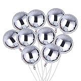 TOYMYTOY Folienballon Rund 18 Zoll DIY Geburtstags folieballon deko Heliumballon Set für Valentinstag Hochzeit Party Baby Dusche 10pcs (Silber)