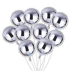 TOYMYTOY Aluminiumfolie luftballoons, Runde Silber luftballoons für Kinder Party Dekoration 10 Stück