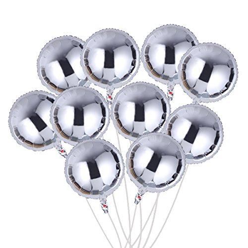 n Rund 18 Zoll DIY Geburtstags folieballon deko Heliumballon Set für Valentinstag Hochzeit Party Baby Dusche 10pcs (Silber) (Silber Mylar)
