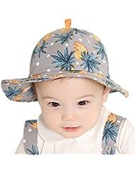 Leisial Sombrero de Pescador Algodón Patrón de Piña Gorro de Alas Anchas Protector Solar Primavera Verano para Niños Bebé,Rosa