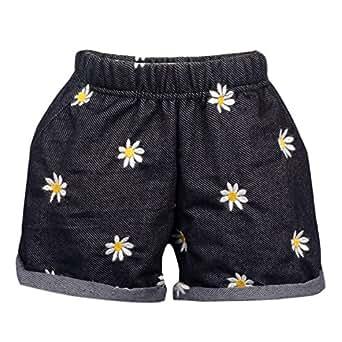 Lil Orchids Girls Flower Embroidered Black Denim Shorts (JG-001-SHRT-FLWR-BLK-5-6Y_Black_5-6Y)